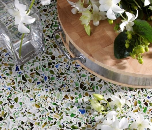 bistro green recycled glass table top