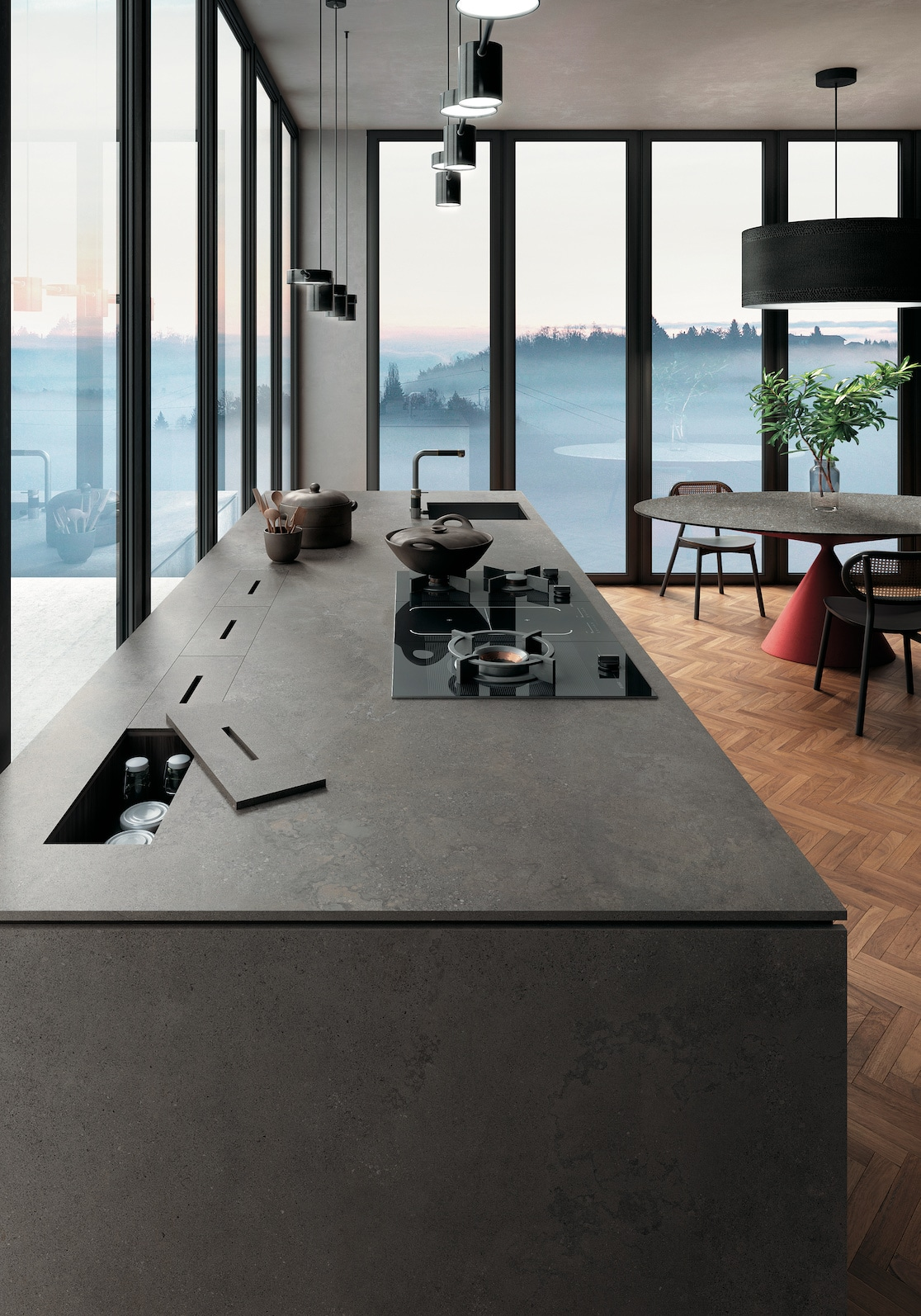 Infinity Cersaie Cucina porcelain countertops Buxy Select